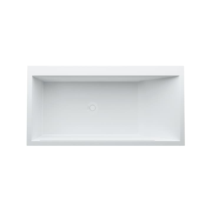 Bathtub, drop-in version, made of Sentec solid surface, with tap bank on right side, with slot overflow in the side at the front, with frame