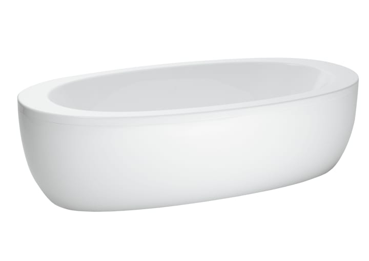 Freestanding bathtub, oval, with panel, with centre outlet, sanitary acrylic