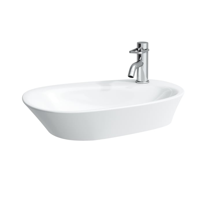 Bowl washbasin, with semi-wet area and tap bank