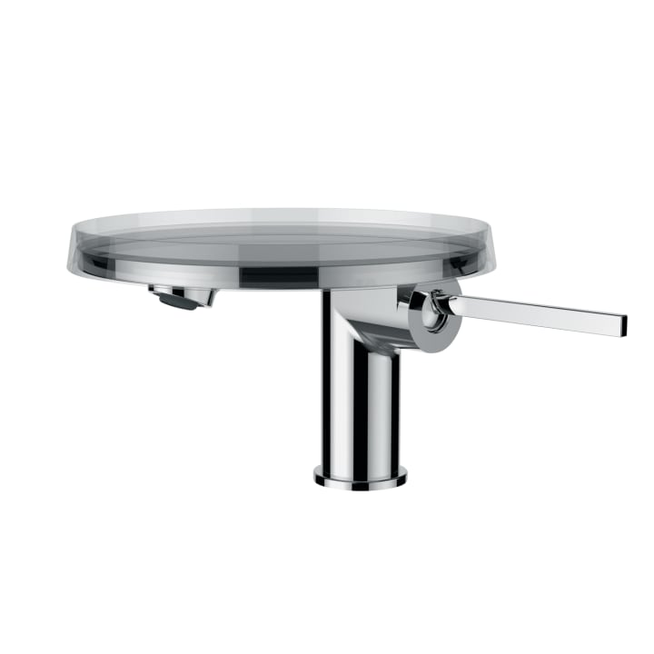 Single lever basin mixer 'disc' projection 110 mm, without pop-up waste, including storage tray 'disc', transparent crystal