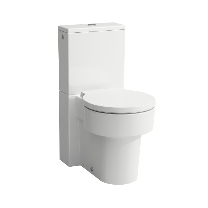 Floorstanding WC, close-coupled, washdown, rimless, outlet horizontal or vertical