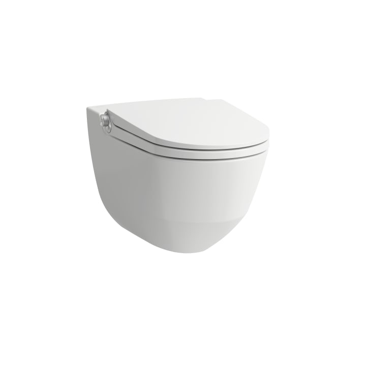Shower toilet, wall-hung, washdown, without flushing rim, incl. WC seat and cover, removable, with lowering system incl. remote control with touch screen