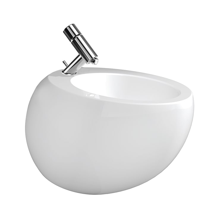 Wall-hung bidet, with concealed overflow, incl. ceramic waste cover