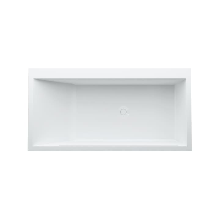Bathtub, right corner, made of Sentec solid surface, with panel, with tap bank, with slot overflow in the side at the front, with frame