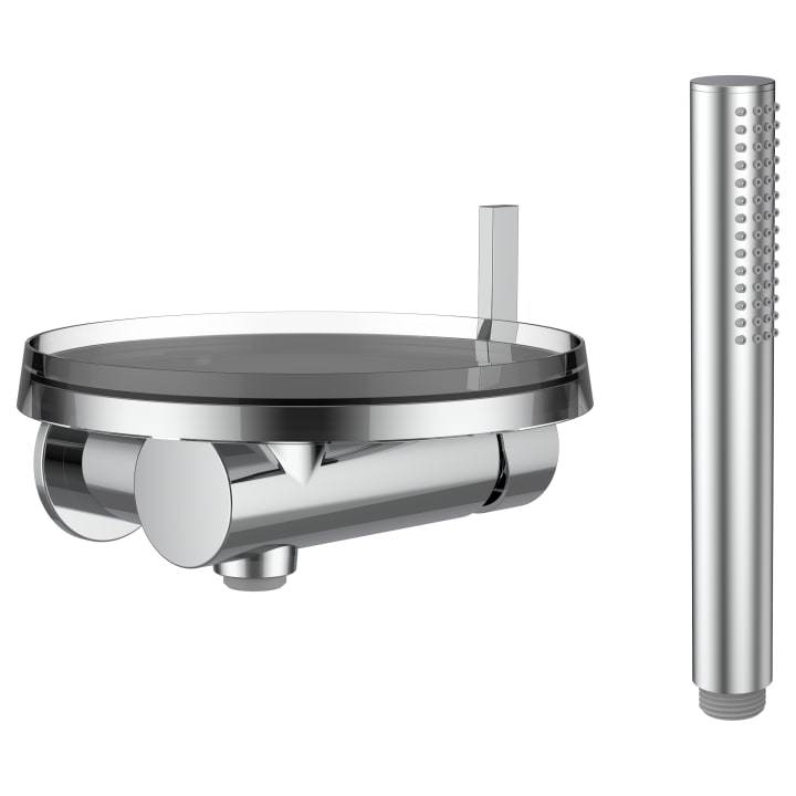 Single lever concealed shower mixer 'disc' for Simibox 1-Point, with accessories, with storage tray 'disc', transparent crystal