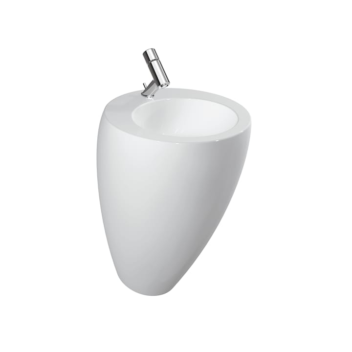 Washbasin with integrated pedestal, with wall connection, with concealed overflow, incl. ceramic waste cover