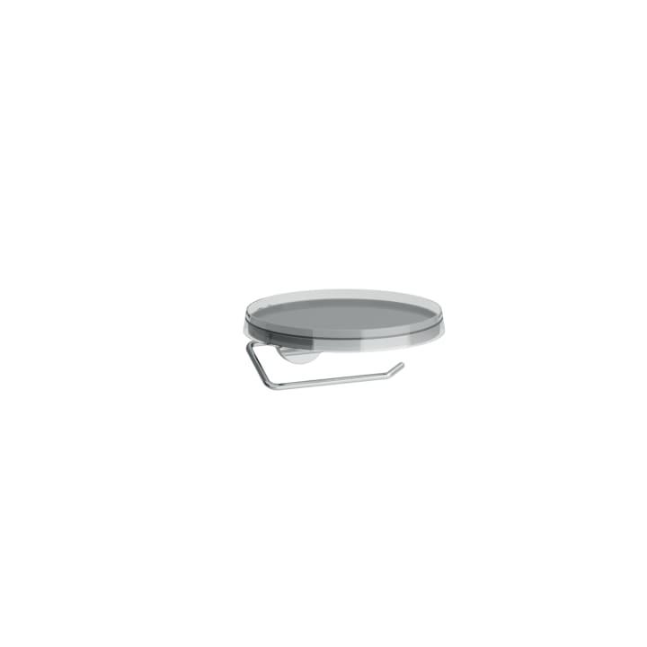Toilet roll holder, Ø 185 mm, including storage tray 'disc', transparent crystal