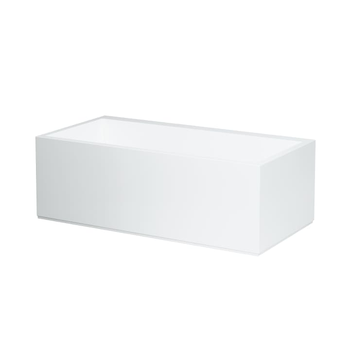 Bathtub, left corner, made of Sentec solid surface, with panel, with tap bank, with slot overflow in the side at the front, with frame