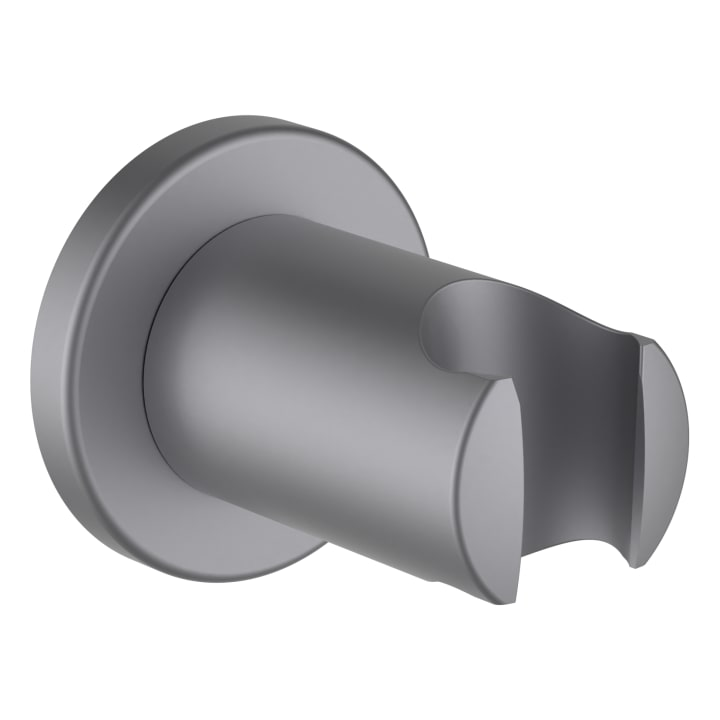 Fixed 'twin' shower holder, projection 52 mm, all-metal, chrome brushed PVD stainless steel