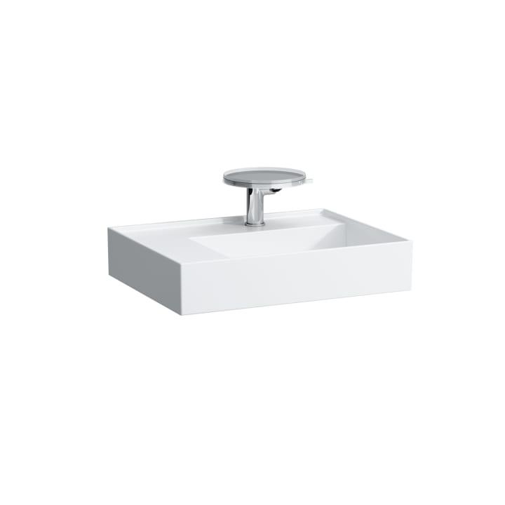 Washbasin, shelf left, with concealed outlet