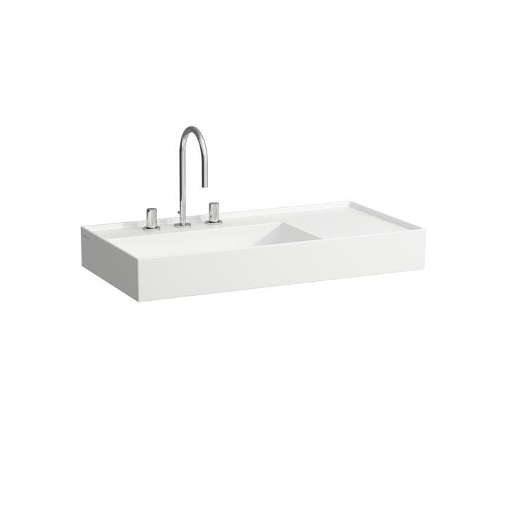 Washbasin, shelf right, with concealed outlet