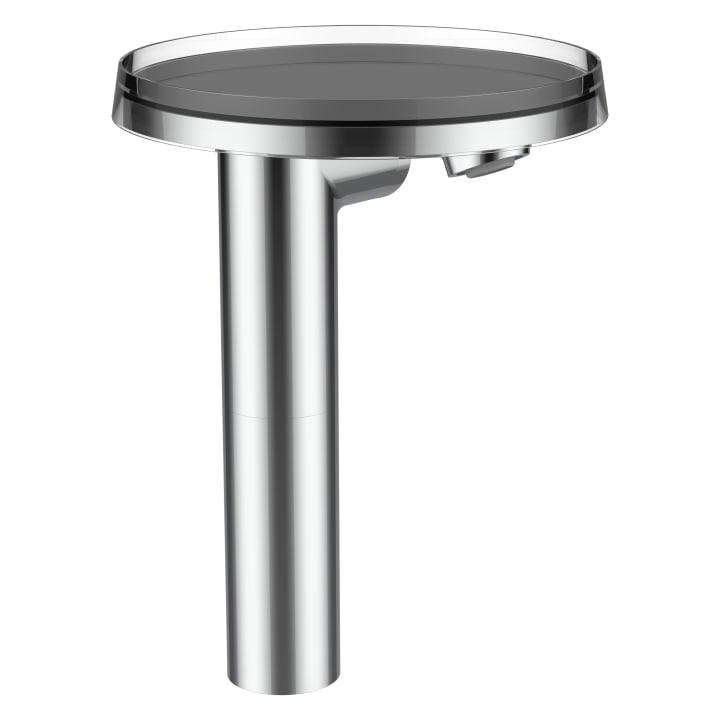 Column single lever basin mixer 'disc', projection 110 mm, without pop-up waste, with storage tray 'disc', transparent crystal