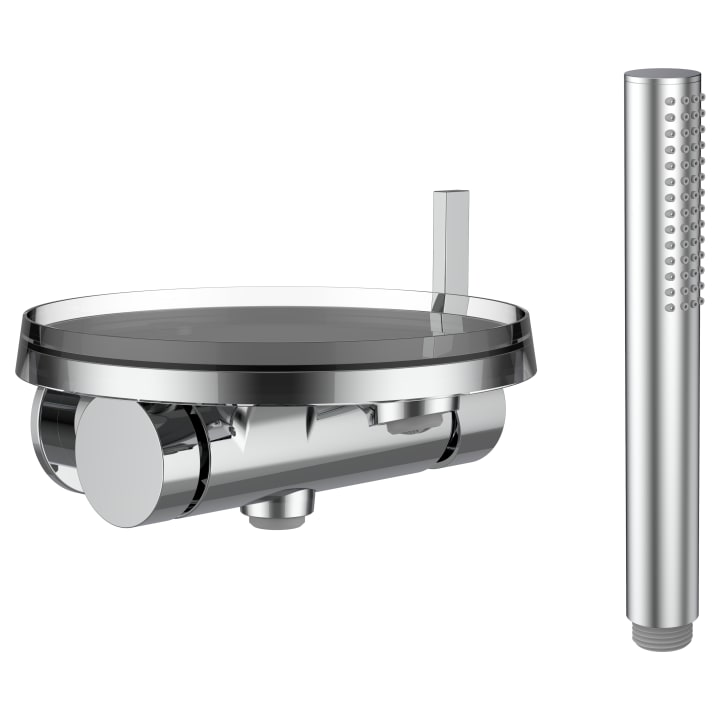 Single lever concealed bath mixer 'disc' for Simibox 1-Point, with accessories, with storage tray 'disc', transparent crystal